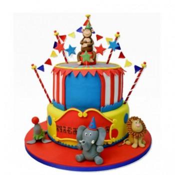 Circus Theme Designer Fondant Chocolate 2 Tier Cake
