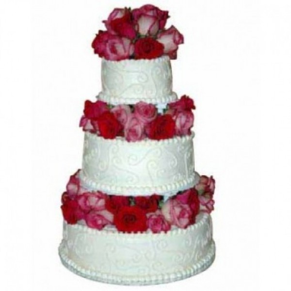 3 Tier Luxury Designer Vanilla Cake Decorated with Real Roses in Each Tier of Cake