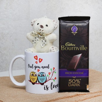 Gift Hamper of Bournville Chocolate and Teddy Bear with White Coffee Mug