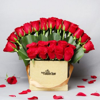 46 Red Roses Arrangement in Golden Luxury Box
