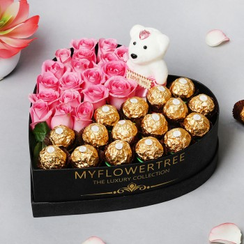 One Heart Shape Black Luxury Box with 16 pcs Ferrero Rocher and 20 Pink Roses Arrangement and One Teddy