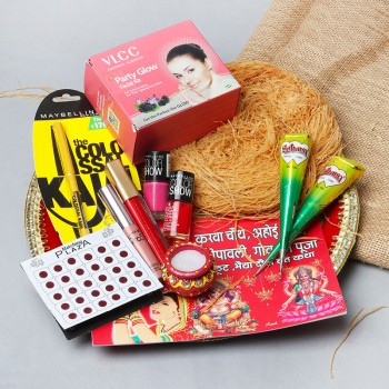 Complete Karwa Chauth Thali with Makeup Accessories
