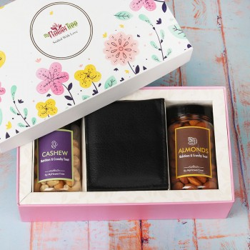 MyFlowerTree Signature Box of Dryfruits and Wallet for Men