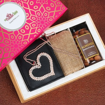 One black Mens Wallet with Heart Shape Pendant and a jar full of almonds