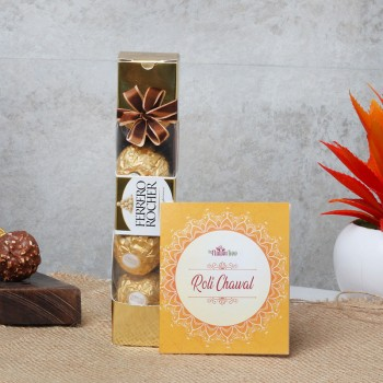 4 pcs Ferrero Rocher with Roli Tika for Bhai Dooj