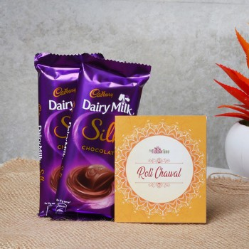 2 Dairy Milk Silk Chocolate (70 gm) with One Pack of Roli Tikka for Bhai Dooj