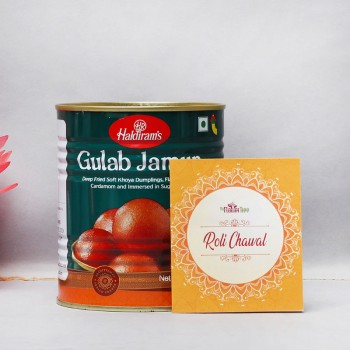 1 Kg Haldiram Tin Gulab Jamun with One Pack of Roli Tikka for Bhai Dooj