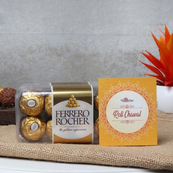 A pack of 16 pcs ferrero rocher chocolate with pack of roli chawal for bhai dooj