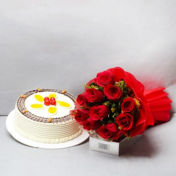 10 Red Roses in Red Paper Packing with Half Kg Butterscotch Cake