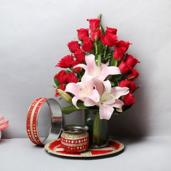 20 Red Roses and 3 Asiatic Pink Lilies with Glass Vase Arrangement and One Designer Pooja Thali Set