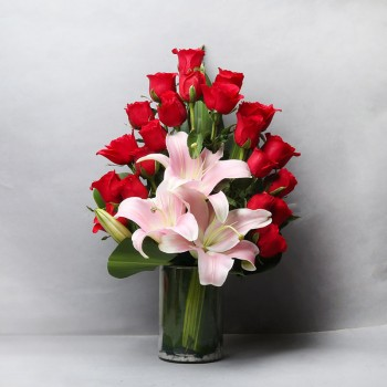 20 Red Roses and 3 Asiatic Pink Lilies with Glass Vase Arrangement