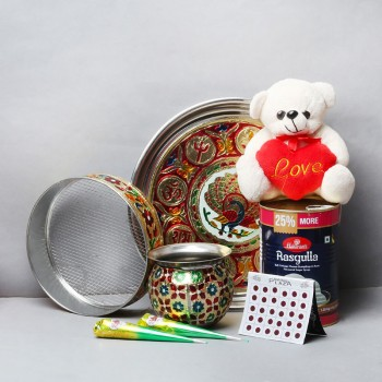 One Designer Pooja Thali Set with One Teddy Bear (6 inches) and One Kg Tin Haldiram Rasgulla and 2 Mehendi Kip and One Pack of Bindi