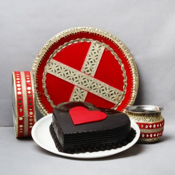 Half Kg Heart Shape Chocolate Cake with One Designer Pooja Thali Set