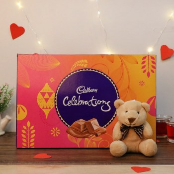 One Pack of Cadbury Celebration 141 gm and 3 inches Teddy Bear