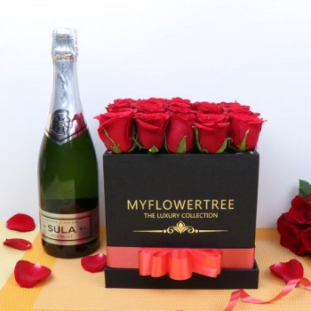 30 Red Roses in Black MFT Box with Bottle Of Champagne