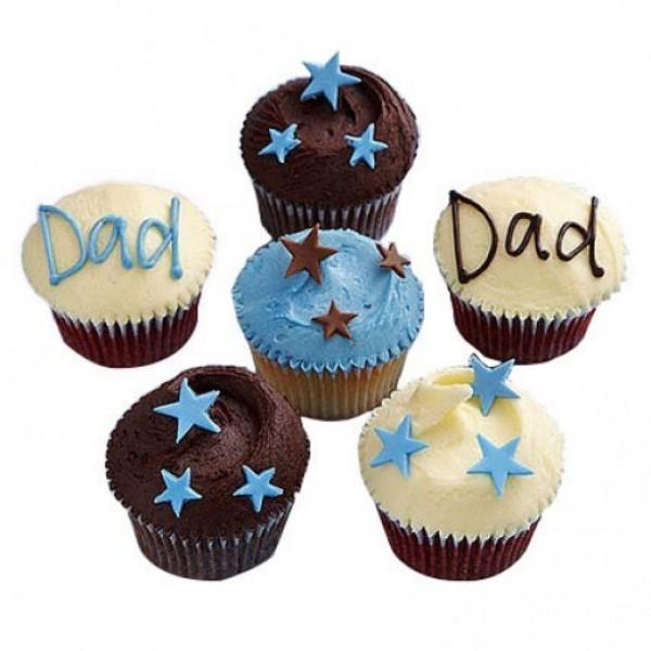 Set of 6 Designer Chocolate Fondant Cupcakes for DAD