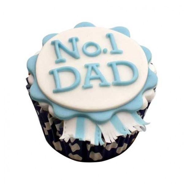 Set of 4 Designer Vanilla Fondant Cupcakes for Dad