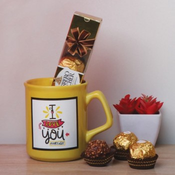 I Love You Printed Yellow Mug and One Ferrero Rocher Chocolate