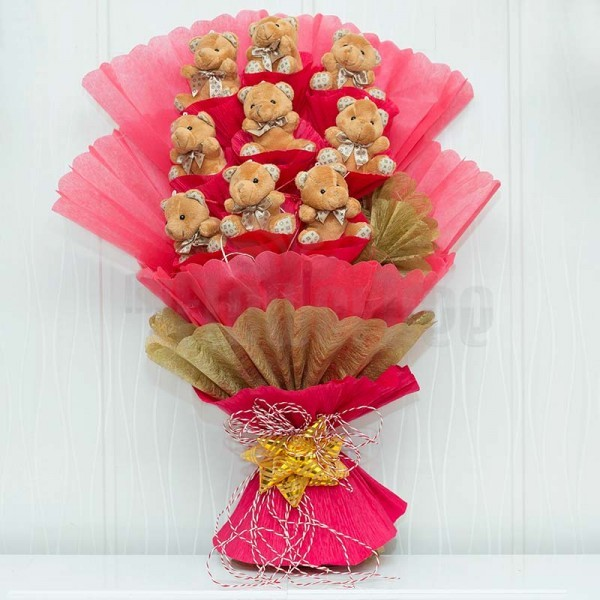 Bouquet of 3 inches 9 Teddy Bear in Paper Packing