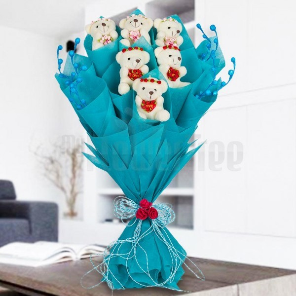 Bouquet of 3 inches 6 Teddy Bear in Paper Packing