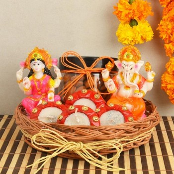 Laxmi Ganesha Idol with Almond Jar and Candle Diyas