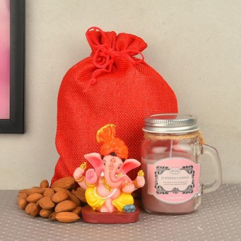 Strawberry Jar Candle with Ganesha Idol and Almond Pack