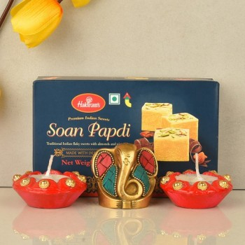 Metal Ganesha with Soan Papdi and 2 Diya for Diwali