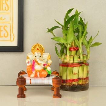 Charpai Laxmi Ganesha with Lucky Bamboo