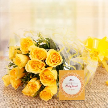 10 Yellow Roses in Cellophane Packing with One Pack of Roli Chawal