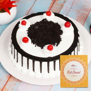 Half Kg Black Forest Cake for Bhai Dooj with Pack of Roli Chawal