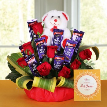 8 Red Roses with 8 Cadbury's DairyMilk Chocolates (14gms each) and Teddy Bear (6 inches) and One Pack of Roli Chawal in a Basket