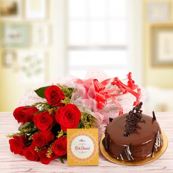 Half Kg Chocolate Cake with 10 Red Roses and One Pack of Roli Chawal