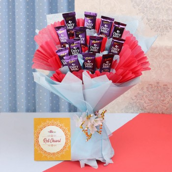 Bouquet of 10 Dairy Milk Chocolates with Roli Chawal Pack for Bhai Dooj