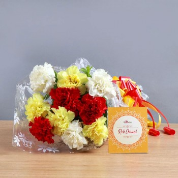 10 Mix Carnations with One Pack of Roli Chawal