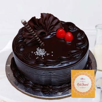 Half Kg Sugarfree Chocolate Cake for Bhai Dooj with Pack of Roli Chawal