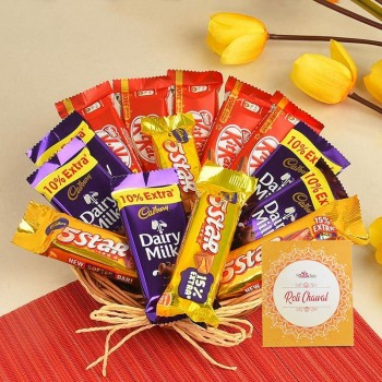 A chocolate basket of 5 Kitkat (13.2 gm), 5 Dairy Milk (13.2 gm), 4 five star (22.4 gm) and One Pack of Roli Tikka for Bhai Dooj