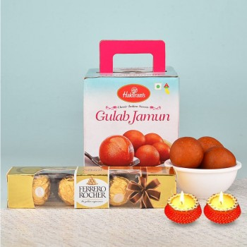 One Kg Gulab Jamun with 4 Pcs Ferrero Rocher Chocolates and Set of 2 Diya for Diwali