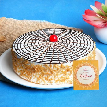 Half Kg Butterscotch Cake for Bhai Dooj with Pack of Roli Chawal