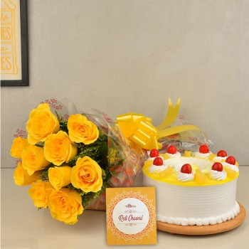 10 Yellow Roses with 1/2 Kg Pineapple Cake and Pack of Roli Chawal