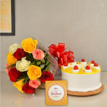 12 Colourful Roses in Cellophane Packing with Half Kg Pineapple Cake and Pack of Roli Chawal