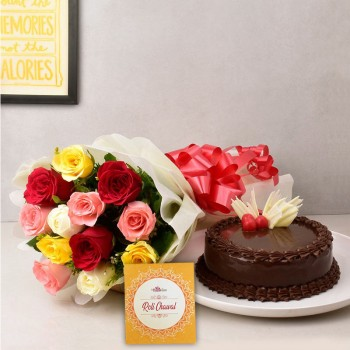 12 Mix Roses in Paper Packing with Half Kg Chocolate Cake and Pack of Roli Chawal