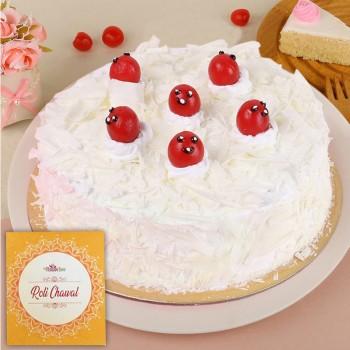Half Kg Vanilla Cake for Bhai Dooj with Roli Chawal