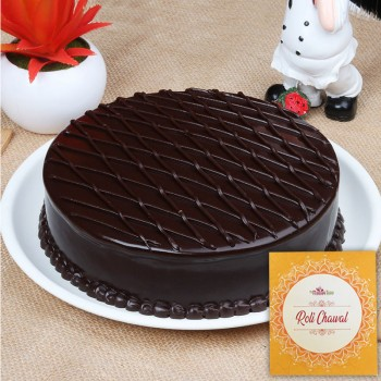 Half Kg Chocolate Truffle Cake for Bhai Dooj with Pack of Roli Chawal