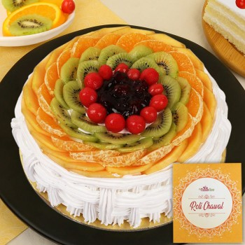 Half Kg Pineapple Fruit Cake for Bhai Dooj with Pack of Roli Chawal