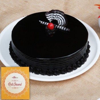 Half Kg Round Chocolate Cake for Bhai Dooj with Pack of Roli Chawal