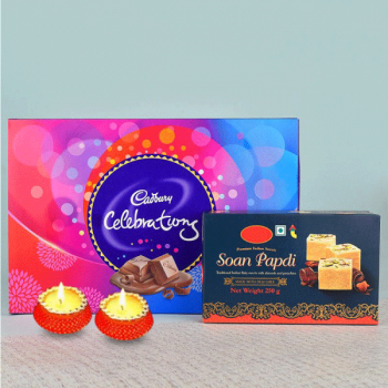 A Pack of Soan Papdi (250 gms) with 1 Cadbury Celebrations Pack (114 gms) and Set of 2 Diya for Diwali