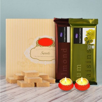 Half Kg Kaju Katli with 2 Tempatation Chocolates and Set of 2 Diya for Diwali