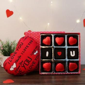 9 Pcs Heart Shape Love u Homemade Chocolates with 3 inches Heart Shape Cushion
