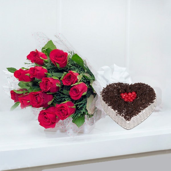 12 Red Roses in Cellophane Packing with 1 Kg Heart-shaped Black Forest Cake