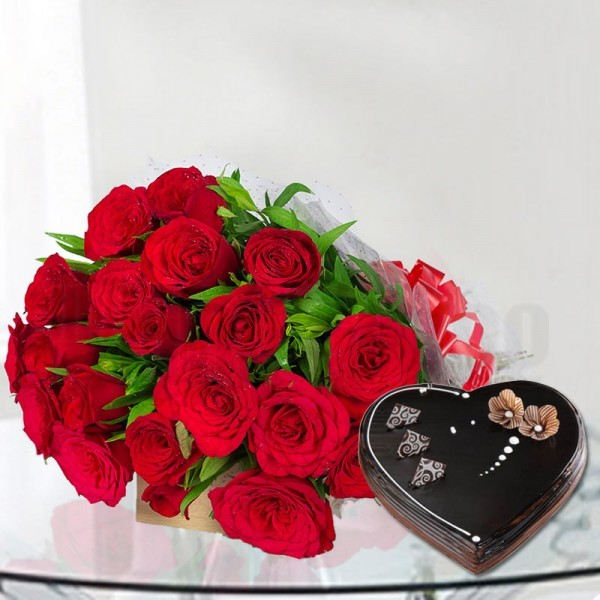 20 Red Roses with 1 Kg Heart Shape Chocolate Truffle Cake